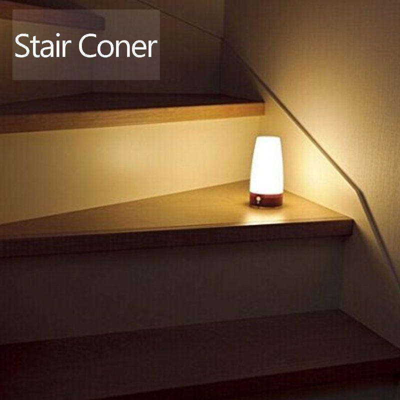 Led Night Light Wireless Pir Motion Sensor Retro Lamp Bed Table Night Light Battery Powered With Eye Care Soft Light For Home Led Night Light Retro Lamp Lamp