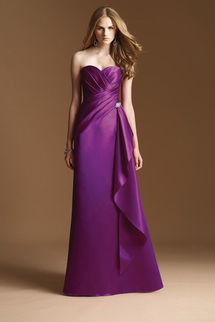 Long Satin Purple Bridesmaid Dress | fashjourney.com | Purple ...
