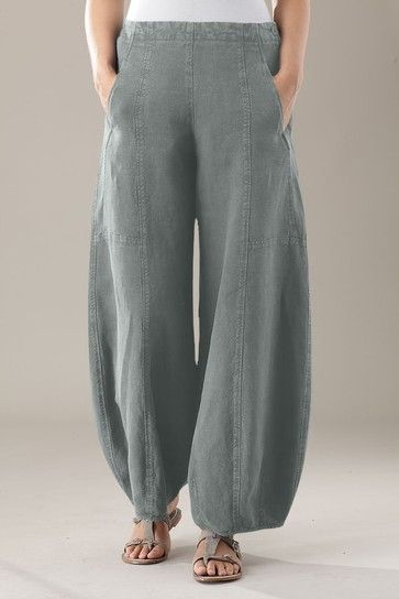 100% LIN BLANC Brown Linen Harem Pants - Women & Plus | Summer ...