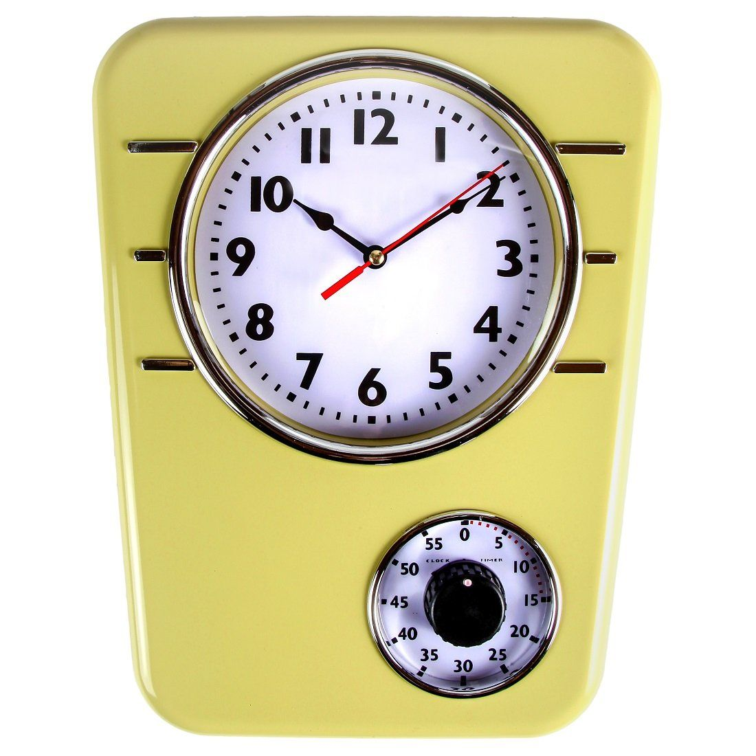 Beautiful Retro Kitchen Clock With Timer. By Lilyu0027s Home (Mustard)