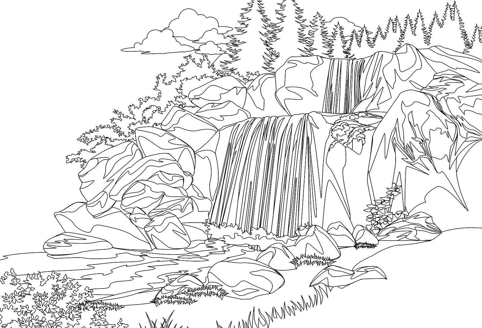 Catatanku Anak Desa Gambar Pemandangan Air Terjun Untuk Mewarnai