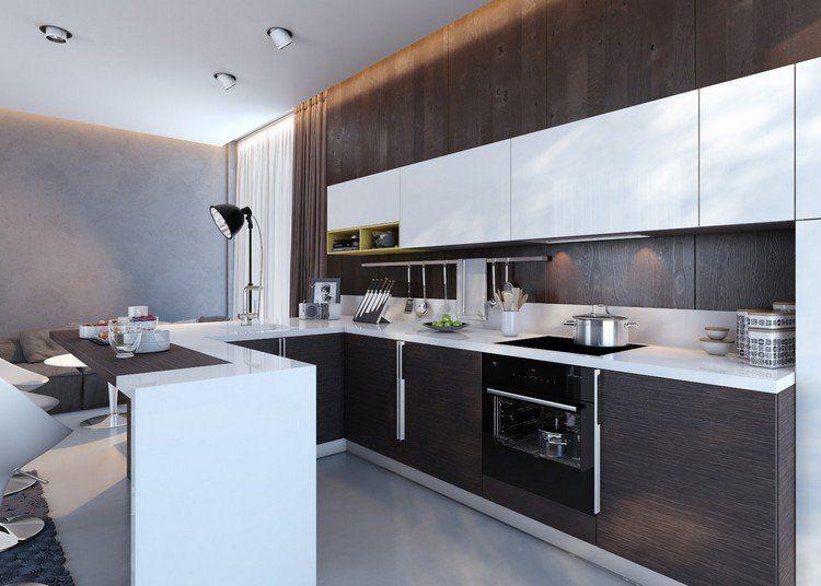 cuisine en U en bois vengé et blanc avec bar et luminaires design ...