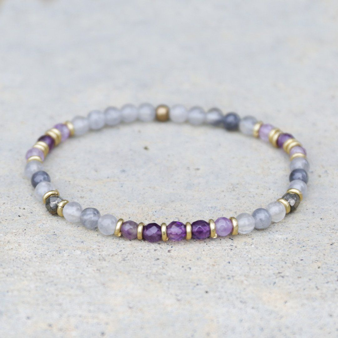 Jewelry Manifestation Communication Sodalite Bracelet Crown Chakra Crystal Healing Throat Chakra With Faceted Quartz,Crystal Bracelet