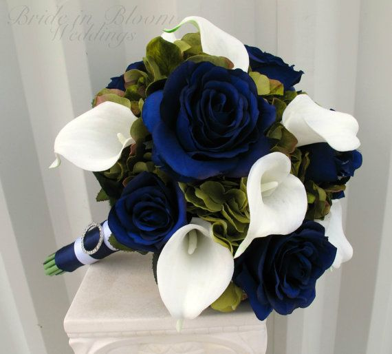 Wedding bouquet Navy blue roses Sage green White calla lily, Silk ...