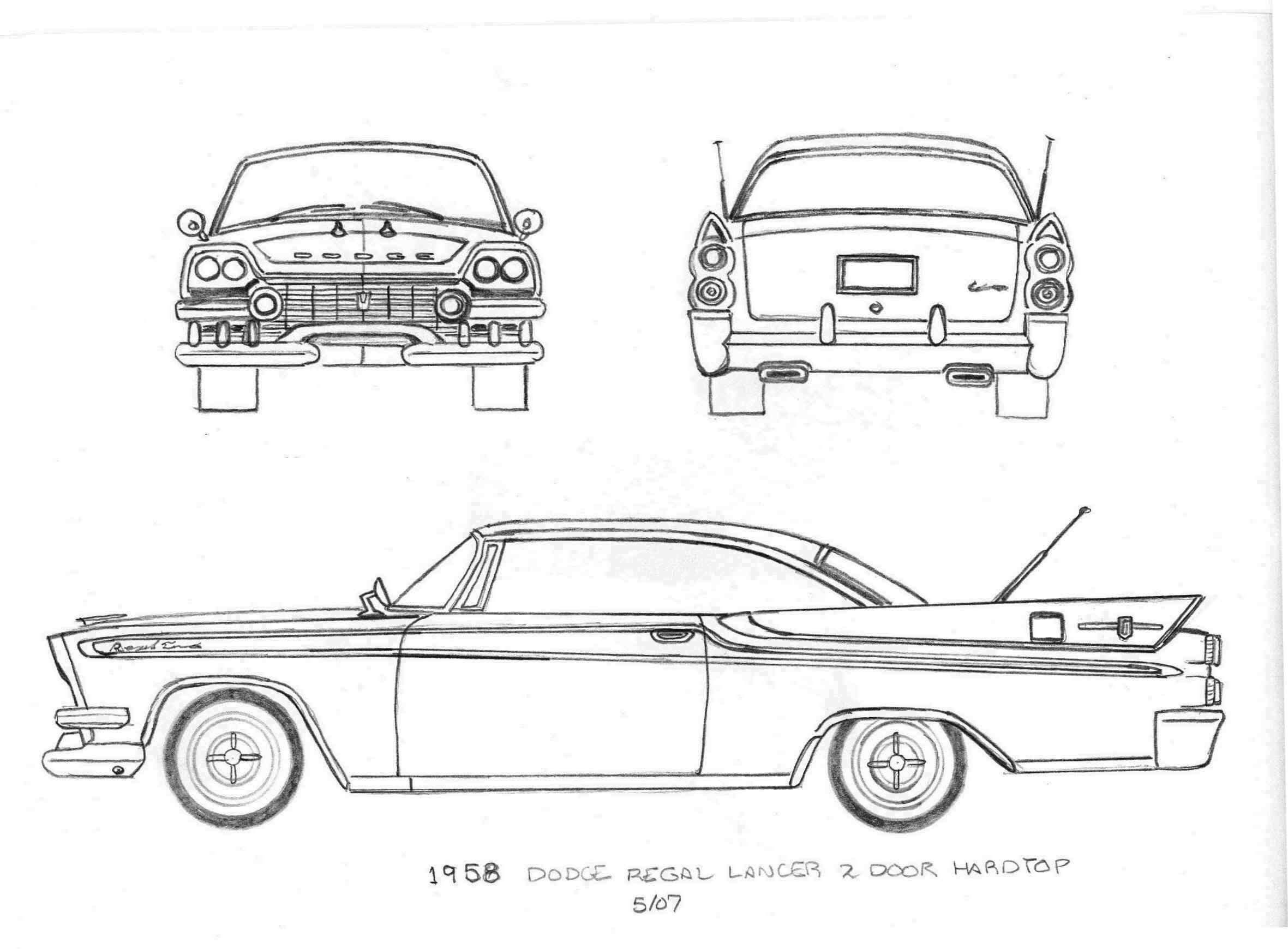 958 Dodge Regal Lancer (Copper/Black) Original Patten drawlings | My ...