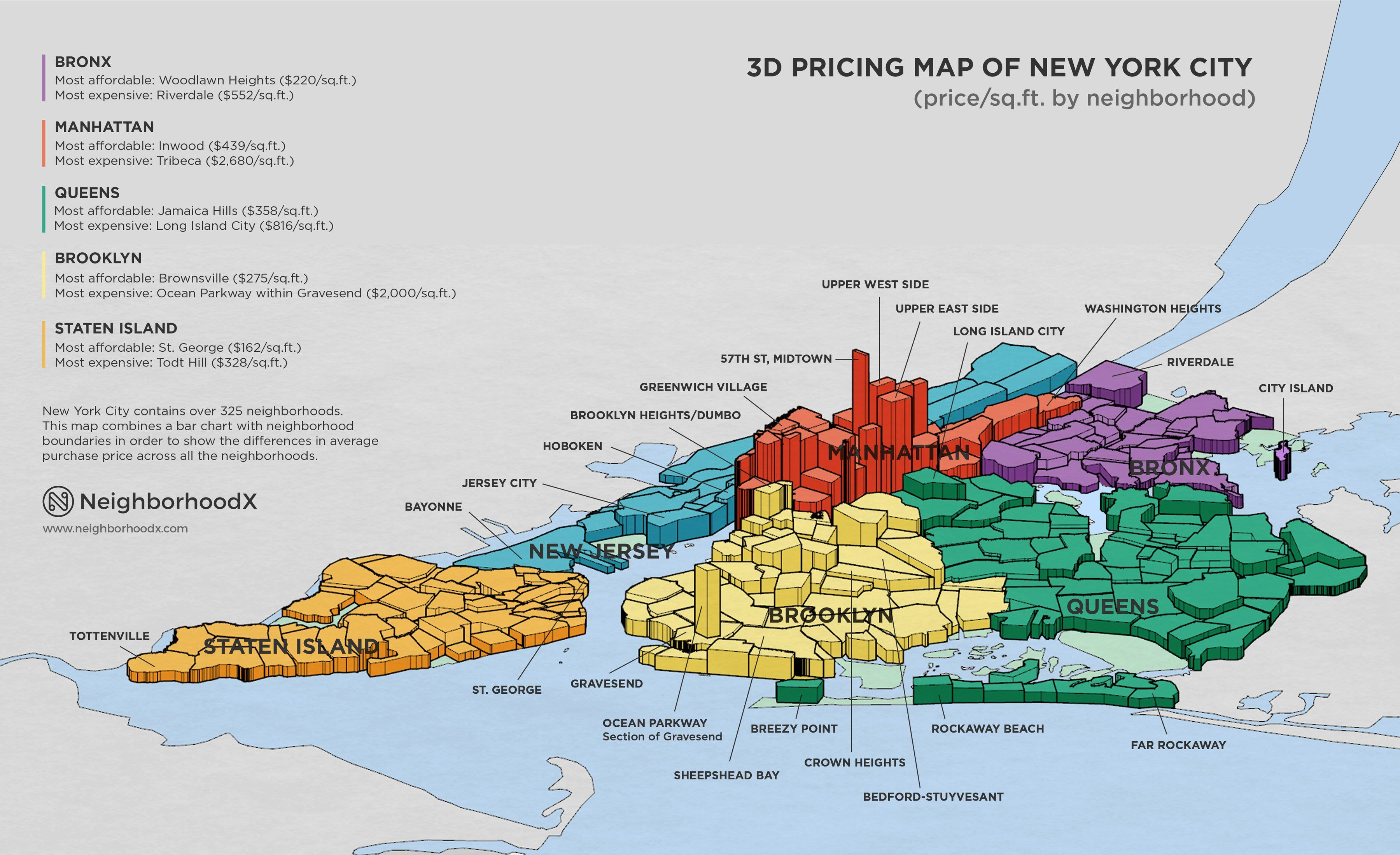 Neighborhoodx S 3d Map Reveals The Blocks Where Real Estate Prices Are Soaring Nyc Map Map Of New York New York City Map
