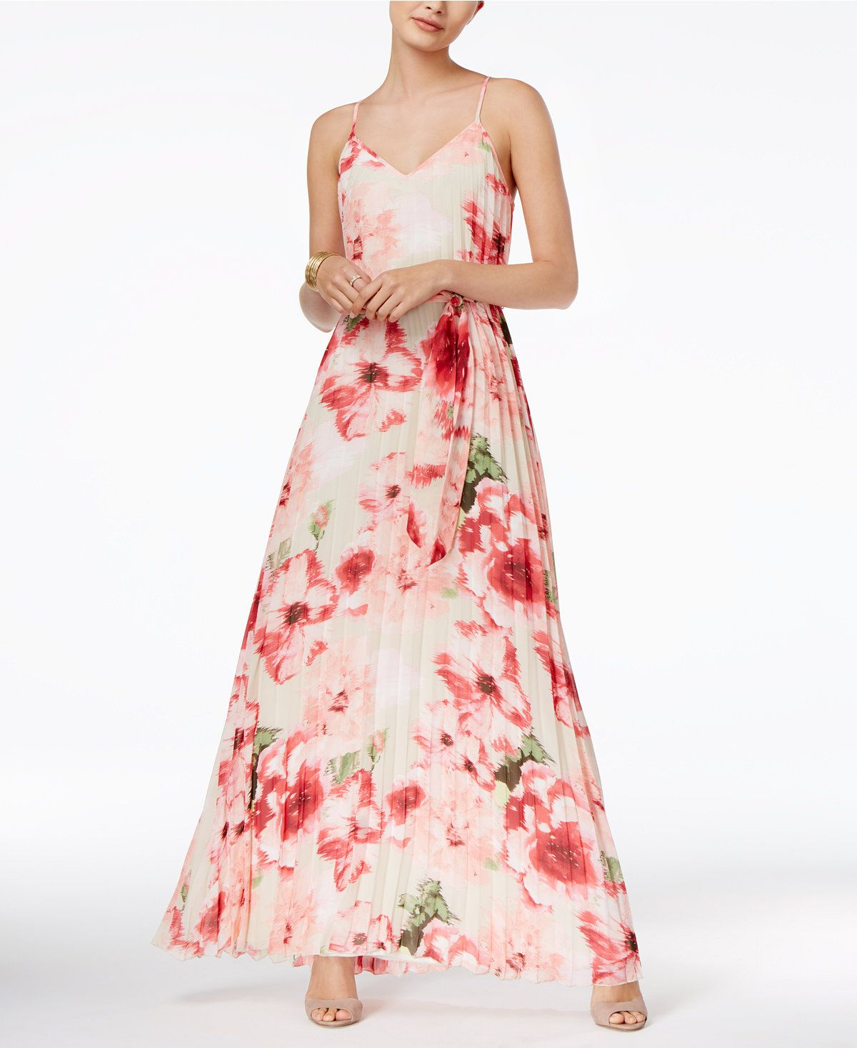 B Darlin Juniors\' Pleated Maxi Dress - Juniors Dresses - Macy\'s ...