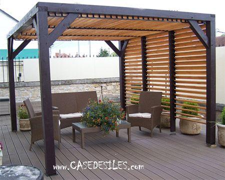 Auvent de terrasse bois avec ventelles 10mc VT3531 Patio ideas