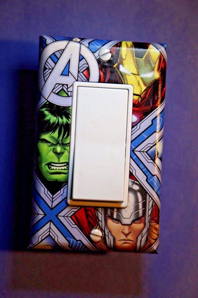 avengers thor hulk iron man light switch cover comic book superhero