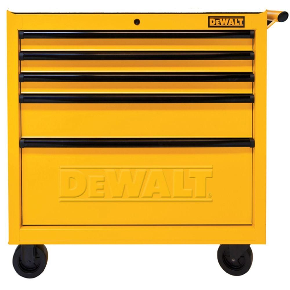 Dewalt 36 In 5 Drawer Roller Cabinet Tool Chest In Yellow Dwmt73679 The Home Depot Tool Storage Cabinets Mechanics Tool Storage Tool Storage
