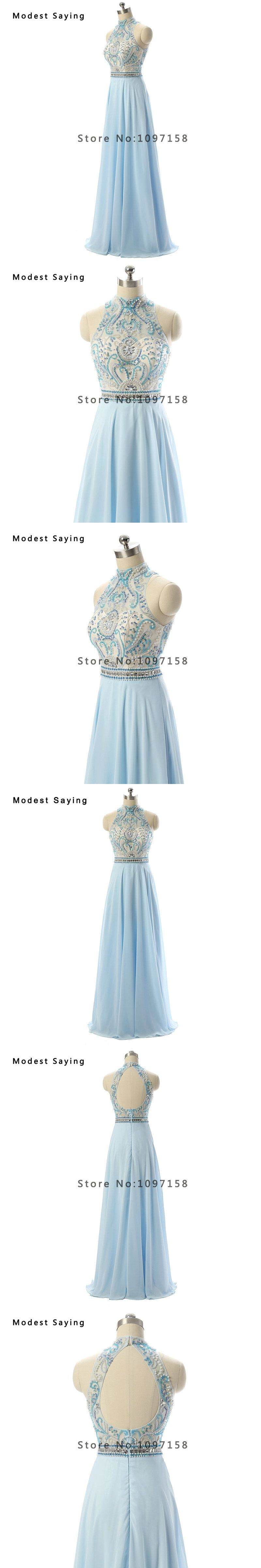 Sexy Pale Blue A-Line High Collar Beaded Evening Dresses 2017 with Rhinestone Women Keyhole Back Party Prom Gowns robe de soiree