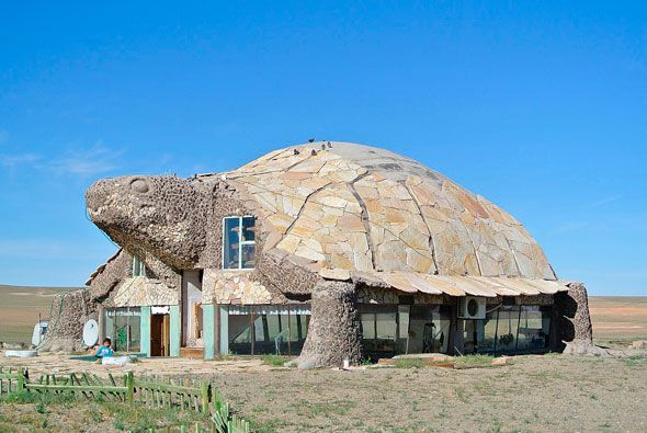 Casa con forma de tortuga