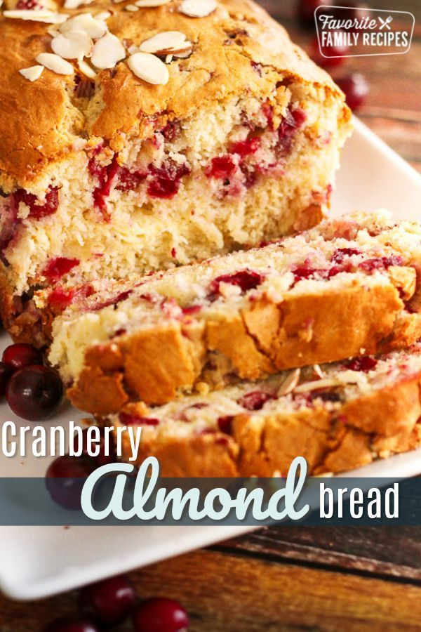 This Cranberry Almond Bread with Cream Cheese Swirl is like Christmas in a loaf ... -