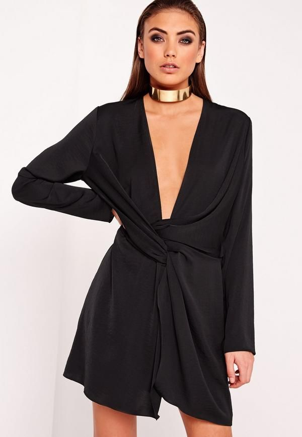 194a8f92d59e Wrap yourself in our luxe satin mini dress! with a super sexy plunging  neckline, we love, want and need this beaut! In an always on trend black  shade you'll ...