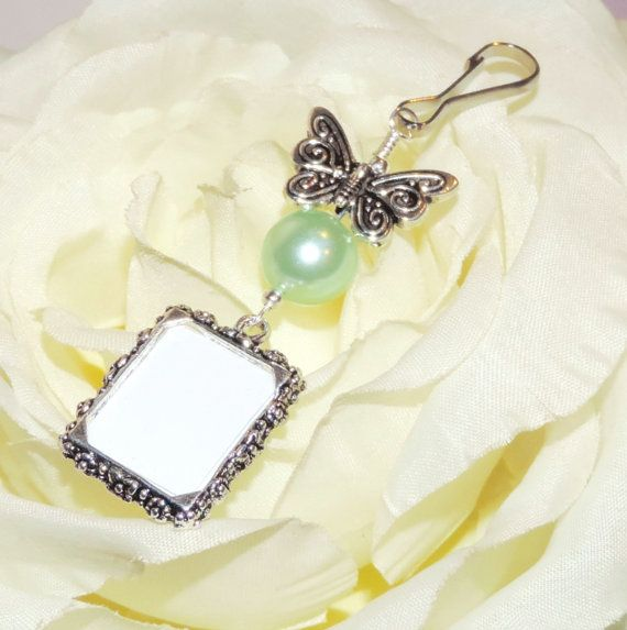 Wedding Bouquet Photo Charm With Butterfly And Mint Green Pearl Bridal Silver Tone Gift For A Bride
