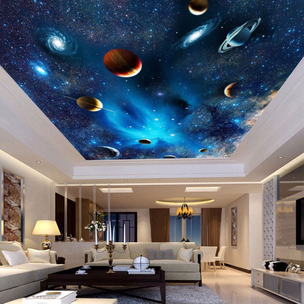 Custom 3d space mural wallpaper astronomical galaxy planet for Space wallpaper for kids room