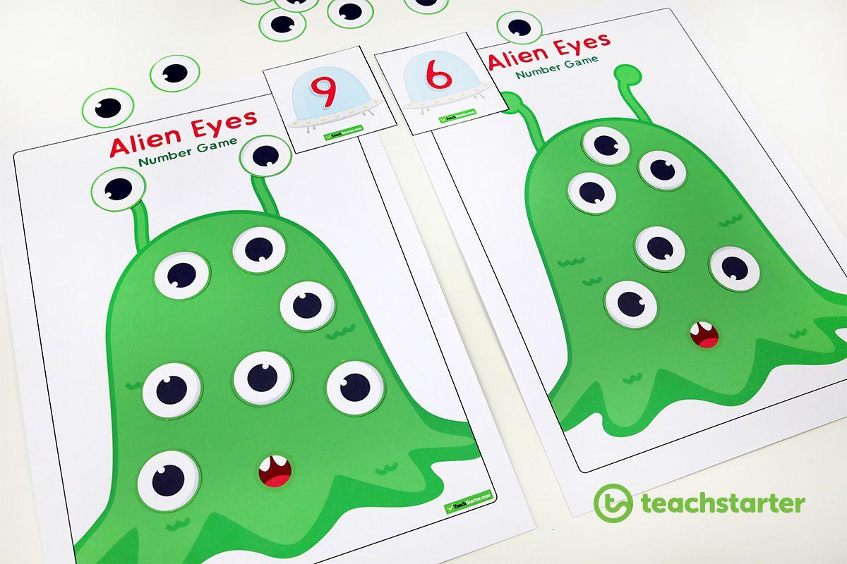 Alien Eyes Number Game Teaching Resource Preschool