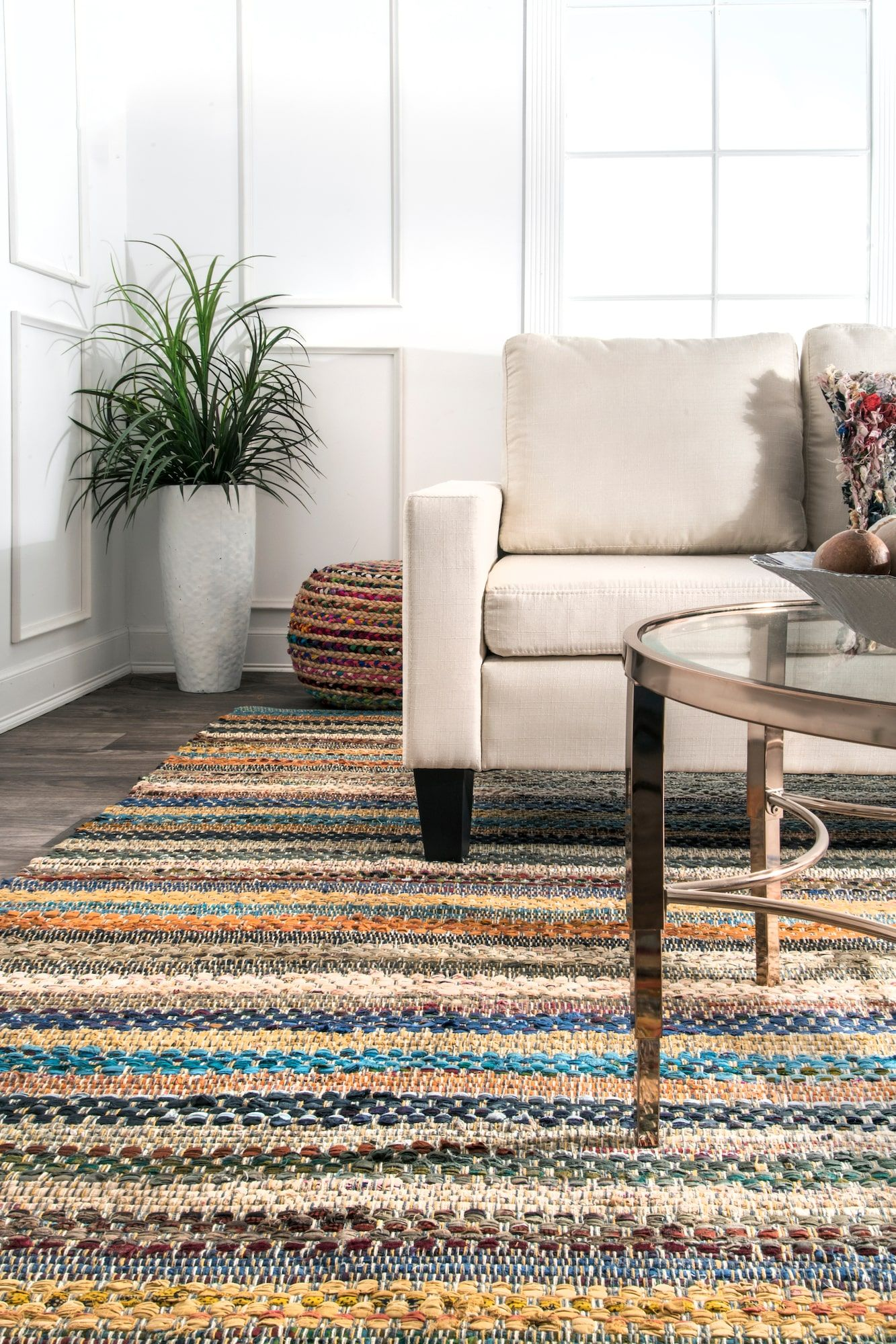 Morrisania Tribal Basketweave Stripes Multi Rug Rugs Rugs Usa Striped Rug