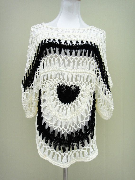 Crochet Beach Cover Up Black and White CTW09 | Ganchillo, Playa y ...