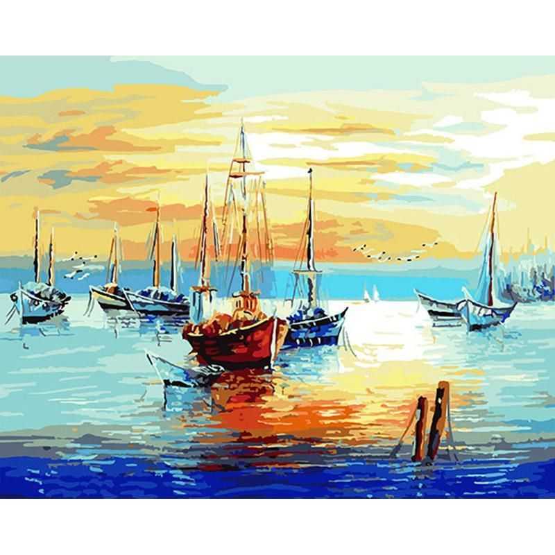 Sailing Yacht DIY Paint By Numbers Kits Number Canvas Hand Painting Landscape