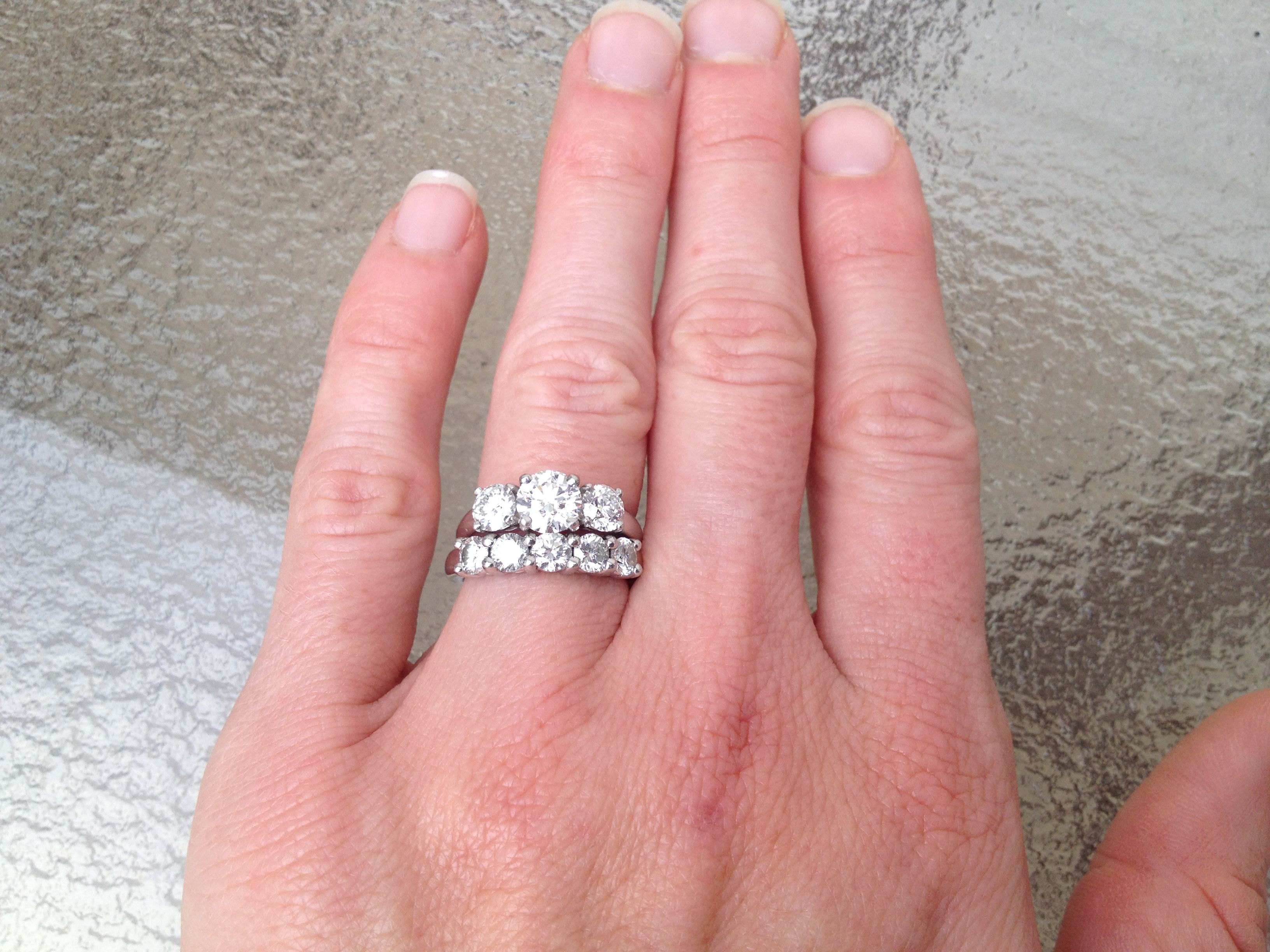 925 Silver White Gold Finish Three Stone Diamond Engagement Bridal Ring Set In Jewelry Watches Wedding Sets