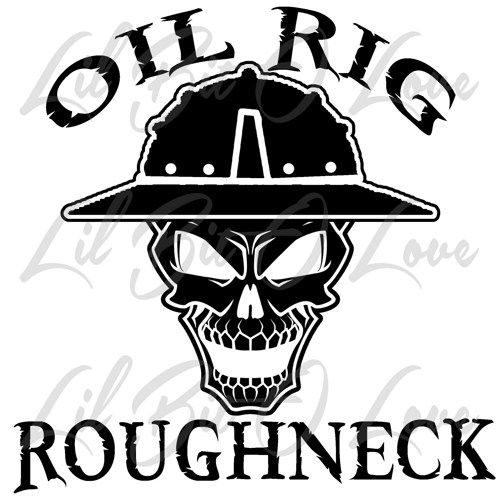 Oil Rig Roughneck Skull In Hard Hat Vinyl Decal Sticker