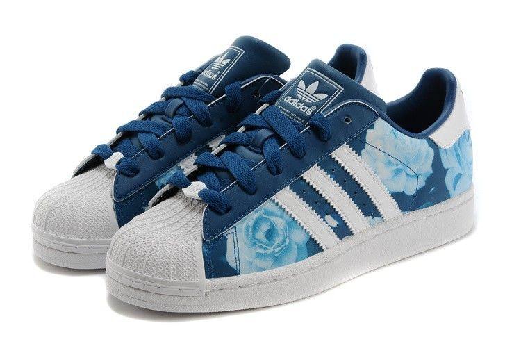 My new shoes ,adidas superstar 2 womens bleu marine rose blanc formateurs