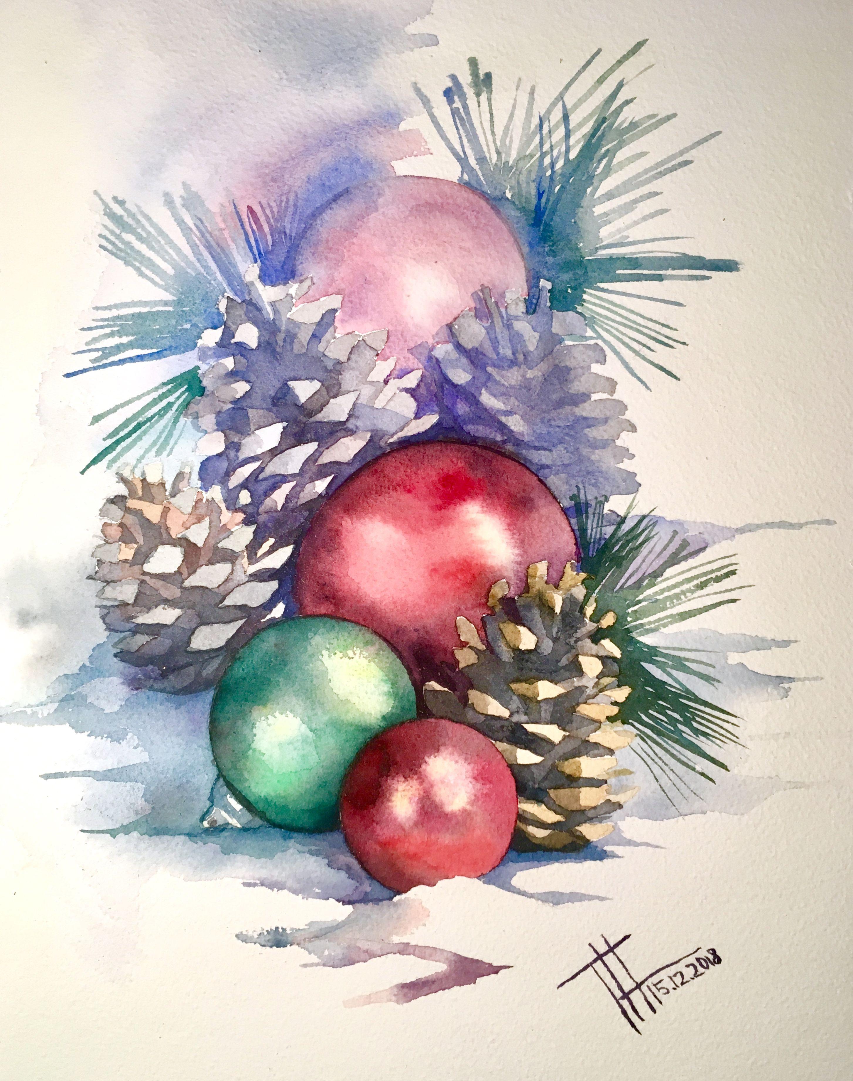 как рисовать новогодние открытки акварелью сразу