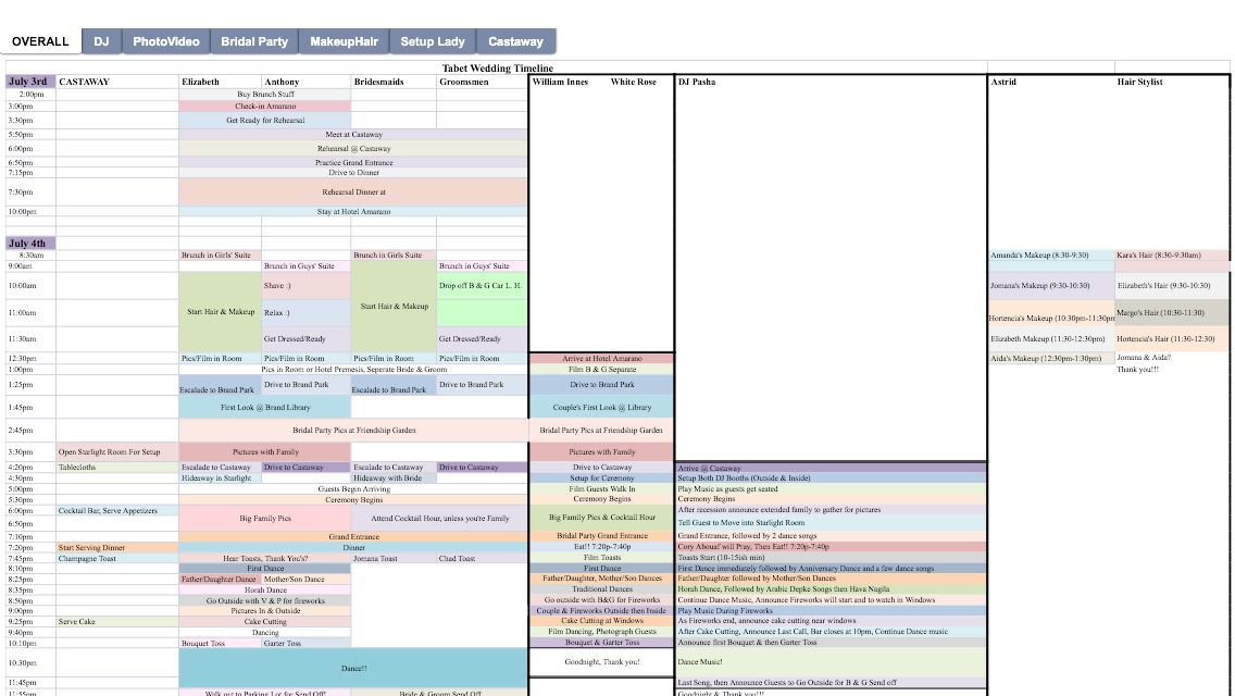 Use Excel To Make The Ultimate Color Coded Wedding Timeline Planning