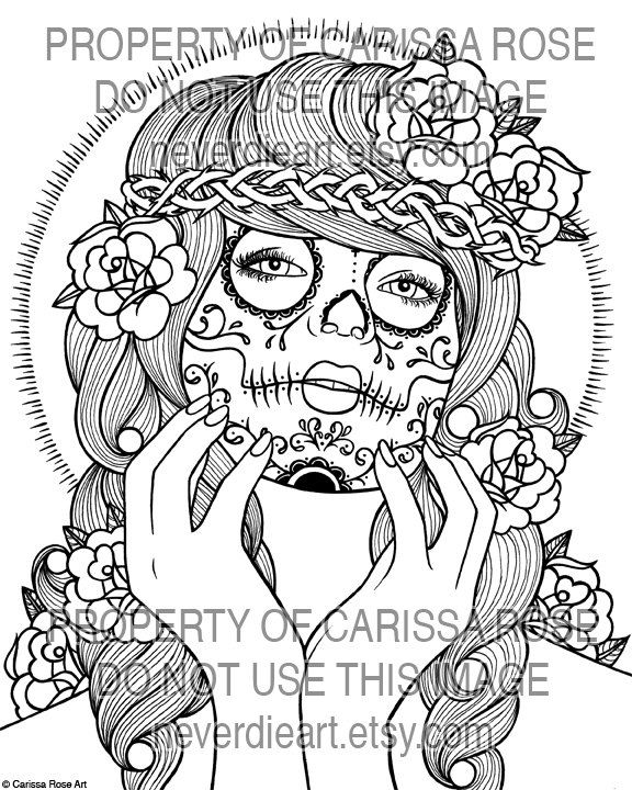 pin up coloring pages | dia de los muertos girl coloring pages ... - Coloring Pages Roses Skulls