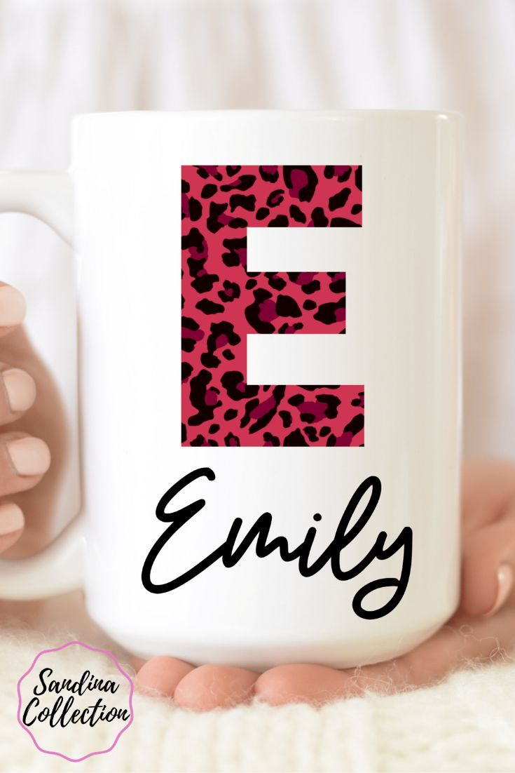 Personalized Coffee Mug, Initial Mug, Birthday Gift For Friend, Customized Mug, Leopard Animal Print