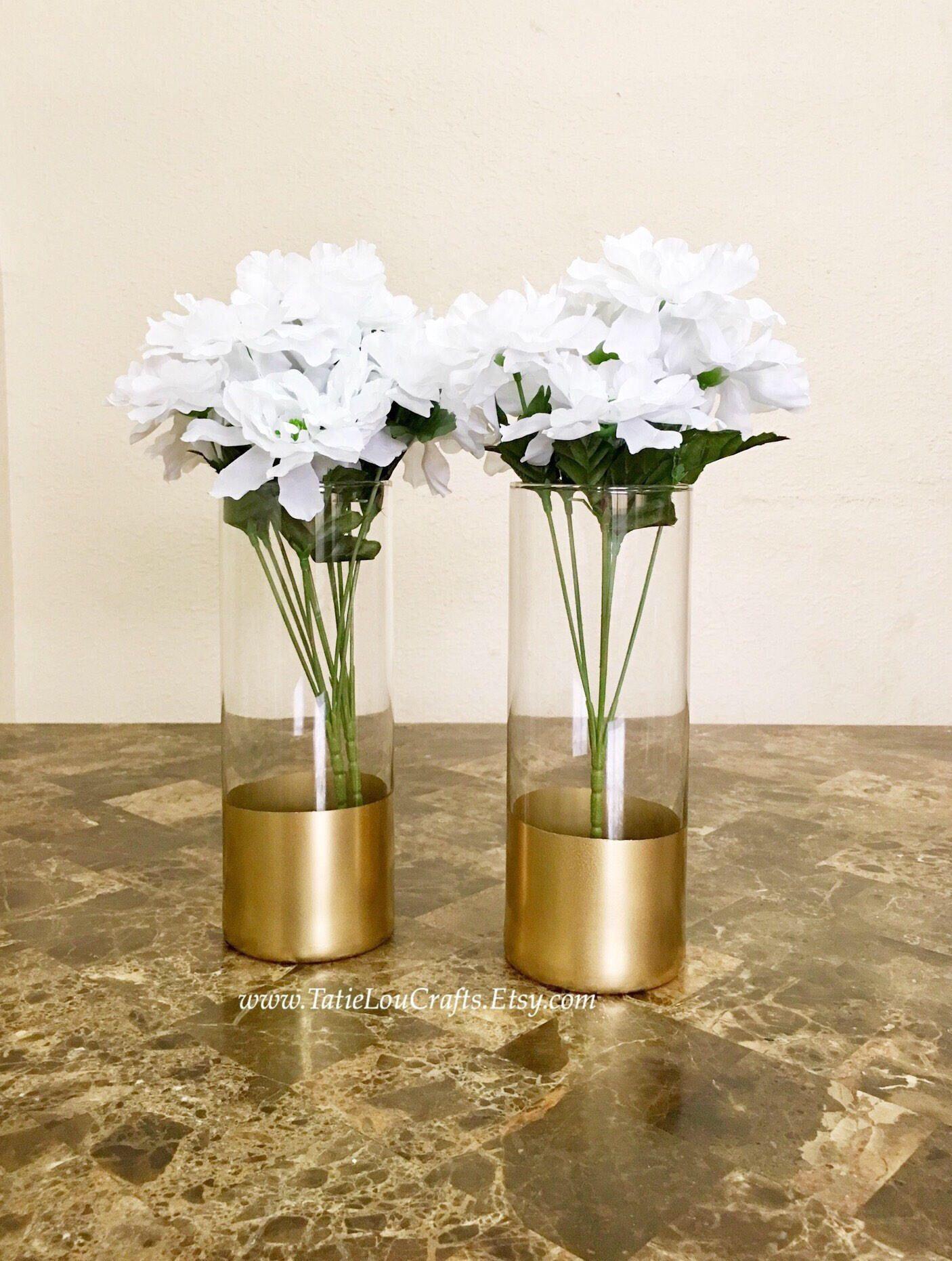 Set of 2 gold dipped vasescylinder vases wedding centerpiece set of 2 gold dipped vasescylinder vases wedding centerpiecegold vases reviewsmspy