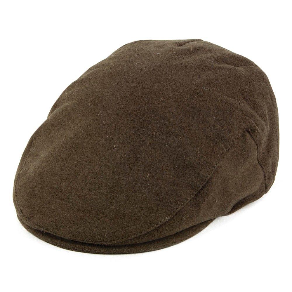 735332cc273 Failsworth Hats Moleskin Waterproof Flat Cap - Olive from Village Hats.