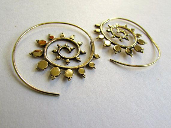 Hey, I found this really awesome Etsy listing at https://www.etsy.com/listing/227390537/spiral-brass-earrings-handmade-tribal