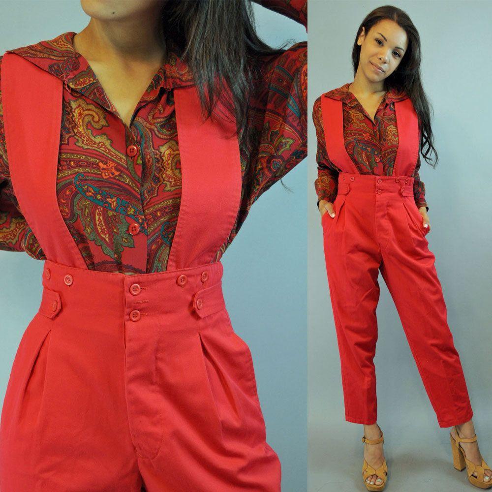 20557c636c5 vintage 80s high waist pants   SUSPENDER PANTS   womens vintage jumpsuit    Pleated Harem fit   Taper Legs M   Medium.  58.00