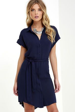 447112bba90 School of Thought Navy Blue Shirt Dress at Lulus.com!