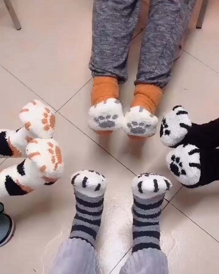Photo of Lined cat winter socks