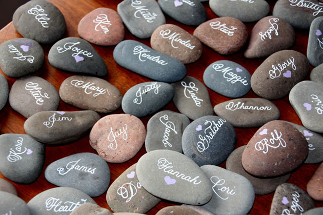 #weddingcalligraphy names on pebbles_calligraphywithstyle