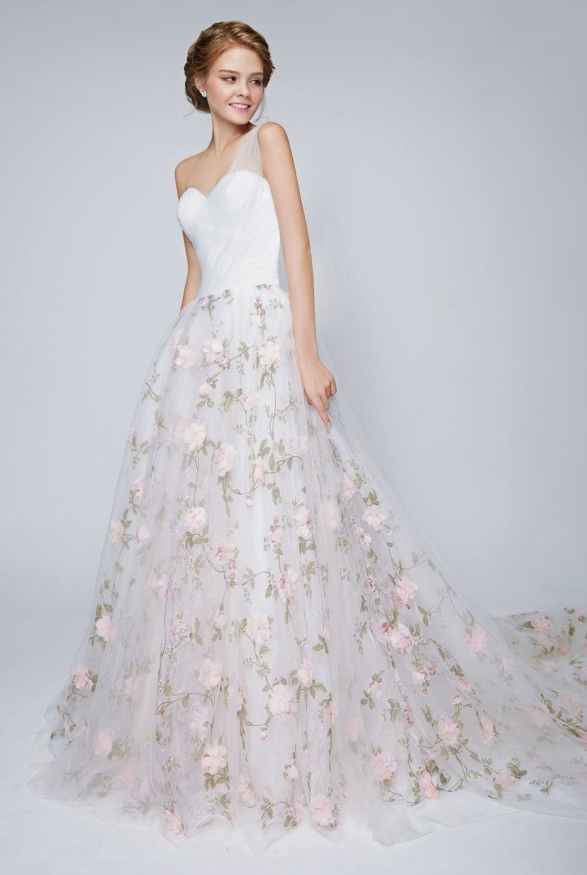 Flower print wedding gown  Top  Bridal Trends for   Pinterest  Wedding dress Floral
