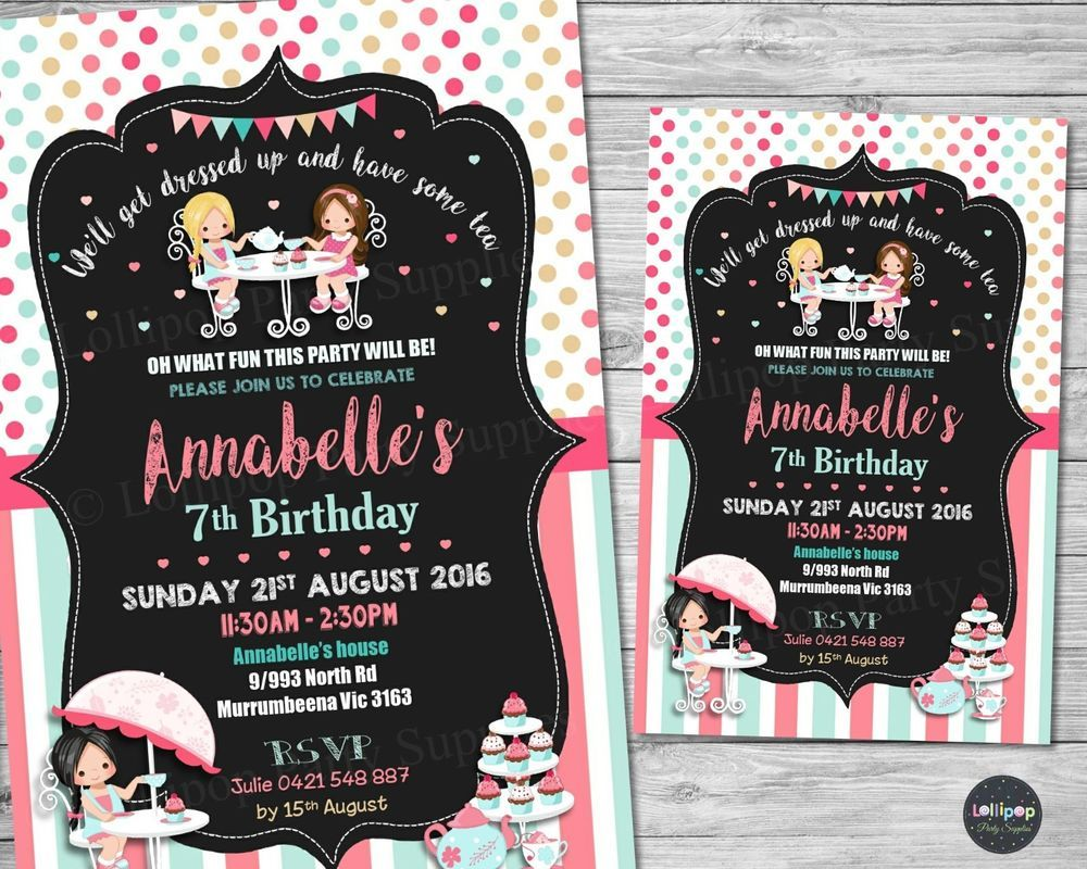 Tea party invitations personalised birthday party invite high tea ...