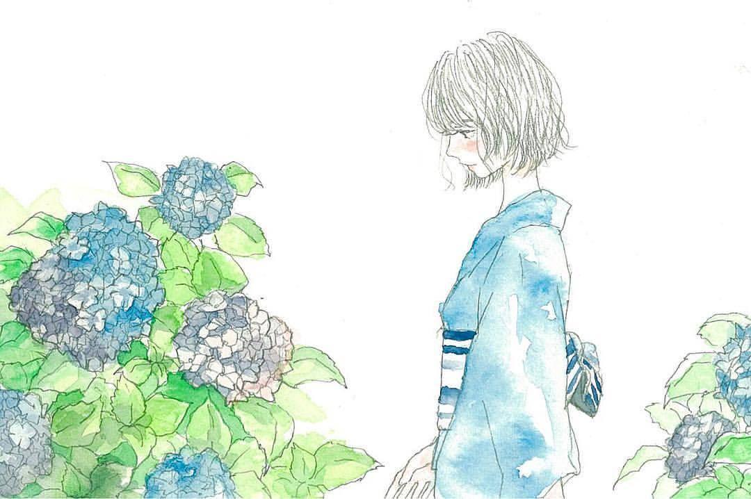 紫陽花 art artwork illustration instagood summer japan japanesegirl  yukata blue flower hydrangea イラスト 水彩 紫陽花 浴衣