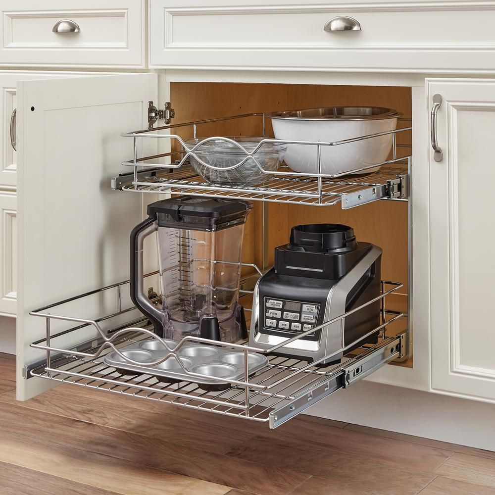 Home Decorators Collection 20 In Double Tier Wire Pull Out Basket Hdr Dbmub 20 Ch Fitted Cabinets Kitchen Remodel Kitchen