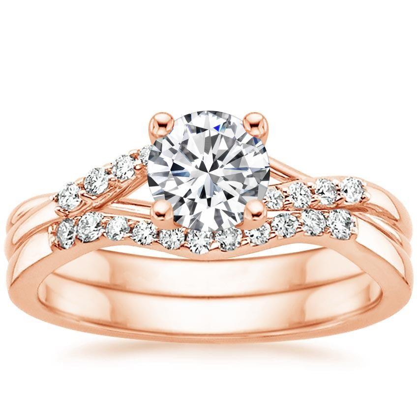 Lab Created Chamise Diamond Bridal Set Engagement Ring - 14K Rose Gold