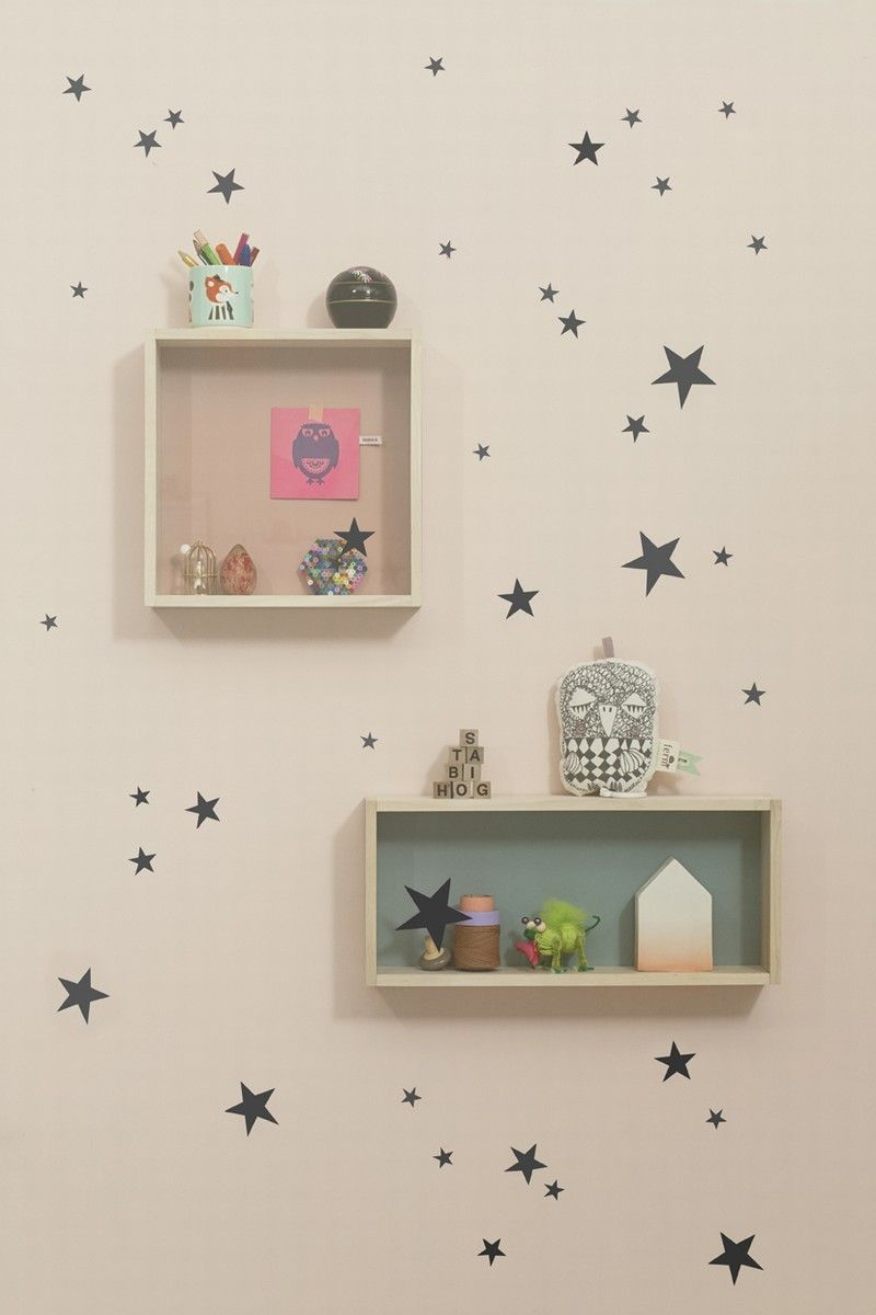 Wall stickers mini stars black ferm room for more