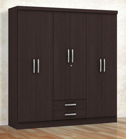 Kimura 6 Door Wardrobe With 2 Drawers In Tobacco Finish By Mintwud Cupboard Design Bedroom Cupboard Designs Wardrobe Design Bedroom