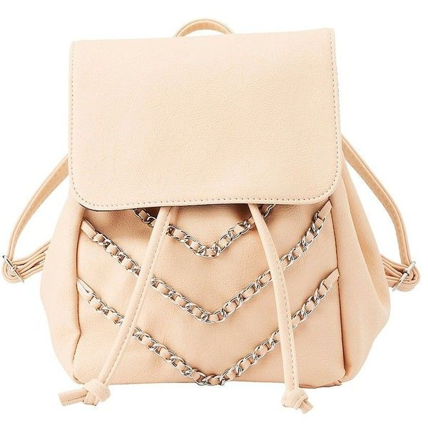 Charlotte Russe Chainlink Faux Leather Backpack (395 MXN) ❤ liked on Polyvore featuring bags, backpacks, nude, fake leather backpack, drawstring bag, beige backpack, vegan leather backpack and charlotte russe backpacks