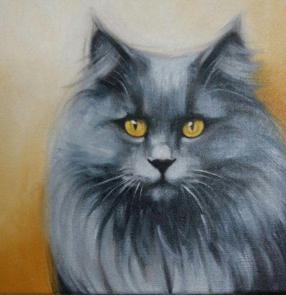 Russian Blue Long Haired Cat By Karen De La Gorce Russian Blue