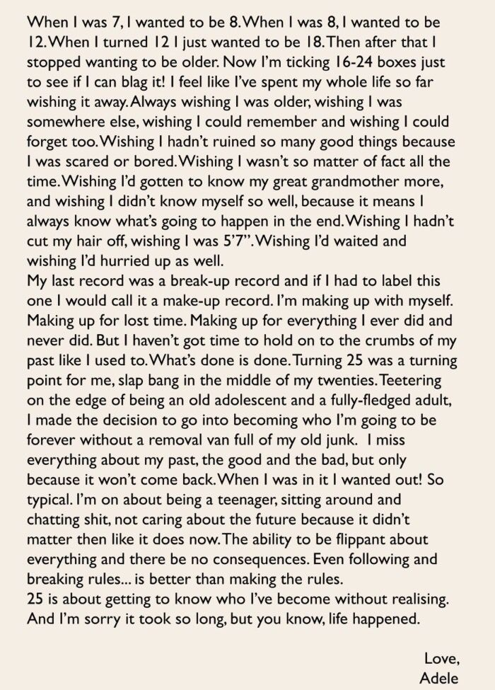 I love this letter written by #Adele. So much truth