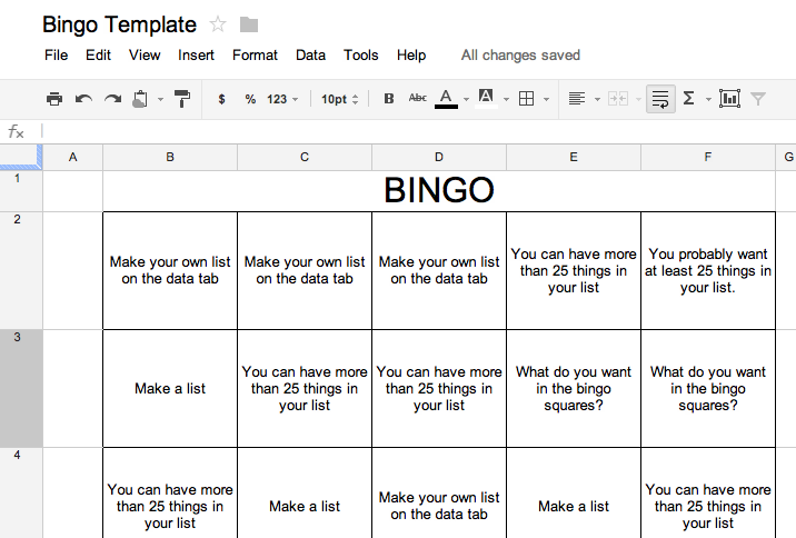 Bingo Template as seen on High School Herd    www.highschoolherd.com