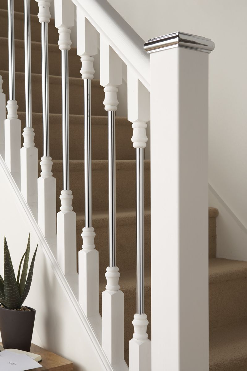 Contemporary Wood Banisters | Axxys Solo White Primed With Chrome Click  Here To Purchase Part 67